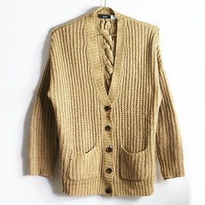 Urban Outfitters Braided Back Tan Cardigan S